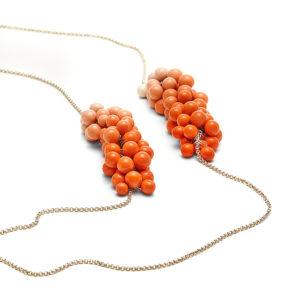 Bubbles-Kette Dolden in Koralle
