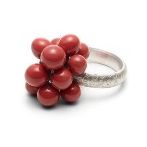 Bubbles-Ring, Dolde in Rot, mit breiter Schiene