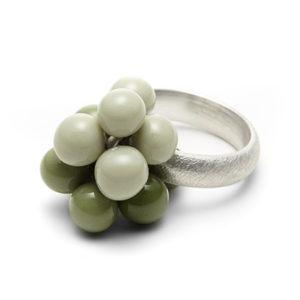 Bubbles-Ring Dolde in Grün mit breiter Schiene
